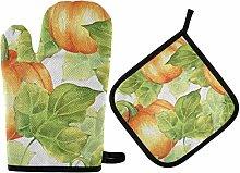 Oven Mitts Pot Holders Sets - Orange Pumpkins Hot