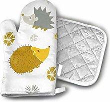 Oven Mitts Pot Holders,Yellow Gray Hedgehog Oven