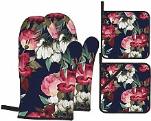 Oven Mitts Red Dark Floral Oven Gloves with