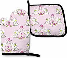 Oven Mitts Set,Cute Elephants Pink Flowers Cooking