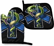 Oven Mitts Set,EMS Star of Life with Snake Cooking