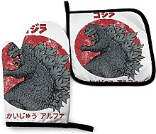 Oven Mitts Set,Kaiju Alpha Godzilla Cooking Gloves
