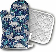 Ovenmitts and Potholders,Dinosaur Jungle Dark Blue