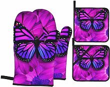 Ovenmitts and Potholders,Purple Butterfly and