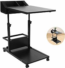 Overbed Table, C Shaped Black Side Table 2-Tier