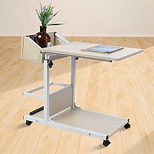 Overbed Table, C Shaped White Side Table 2-Tier