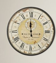 Oversized Round Antique Metal Wall Clock One