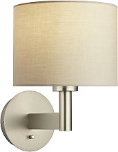 Owen Cylinder Wall Lamp in Steel, taupe fabric