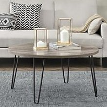 Owen Wooden Round Coffee Table In Distressed Grey