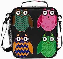Owl Colorful Gray BlueLunch Box Insulated Soft Bag