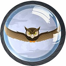 Owl Flying with Full Moon Colorful Crystal Glass