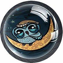 Owl Moon Crystal Door Knobs Glass Furniture Drawer