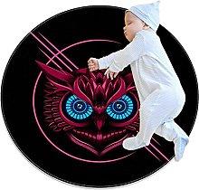 Owl, Round Area Rug Pattern Round Children Area