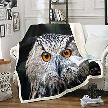 Owl Sherpa Blanket 3D Animal Pattern Fleece Throw