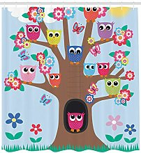 Owl Shower Curtain Birds and Butterflies Print for