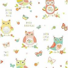 Owl Tree Floral Wallpaper Children's Room Pink