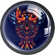 Owl with Mandala 4 Pack Round Glass Drawer Knobs