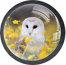 Owl with Yellow Flowers Drawer Pulls Handles