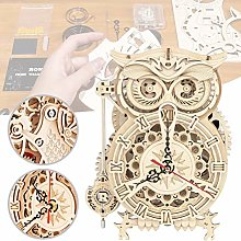 Owl Wooden 3D Puzzle, Owl Clock Kit DIY Wooden