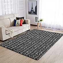 OwlOwlfan Egyptian Glyph Floor Rugs Soft Durable