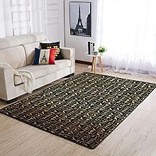 OwlOwlfan Golden Egyptian Glyph Area Rug Large
