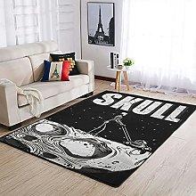 OwlOwlfan Skull Area Rug Modern Anti-slip Carpets