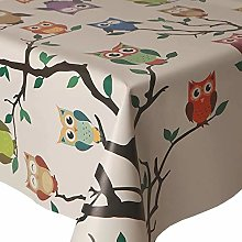 Owls On Trees Wipe Clean Table Cloth PVC Vinyl