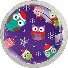 Owls with Christmas Hat Snowflake Pattern Glass