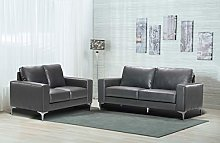 Oxbridge Modern Bonded Leather 3 + 2 Sofa Suite