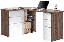 OxFord Truffle Oak Finish Corner Computer Desk