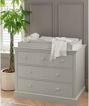 Oxford Wooden 3 Drawer Dresser & Baby Changing Unit - Stone Grey