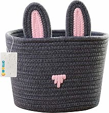 OYHOMO Cotton Rope Basket Cute Rabbit Basket Small