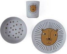 OYOY - Lion Bamboo Tableware Set - Grey - grey - Grey/Grey