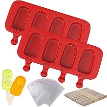 Ozera 2 Pack Silicone Popsicle Molds, 4 Cavities