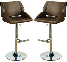 Pacific Brown Leather Bar Stool In Pair