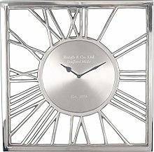 Pacific Lifestyle Glass Square Wall Clock, Nickel,
