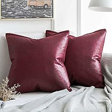 Pack of 2 Decorative Faux Leather Modern Pillow