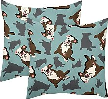 Pack of 2 Polyester Throw Pillow Covers Cases,