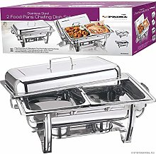 Pack of 2 Stainless Steel Chafing Dish Sets with