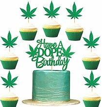 Pack of 25 pot leaf cupcake topper set included