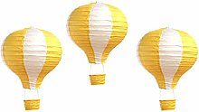 Pack of 3 Stripy Hot Air Balloon Paper Lantern
