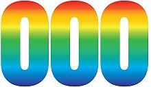 Pack of 3 Trendy Rainbow Wheelie Bin Number-0 Self