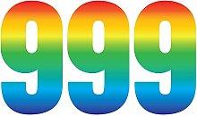 Pack of 3 Trendy Rainbow Wheelie Bin Number-9 Self