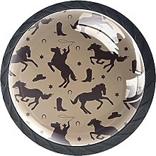 Pack of 4 Crystal Cabinet Knob Horse Shadow Black