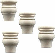 Pack of 4 Solid Wood Furniture Legs,Gourd Shape