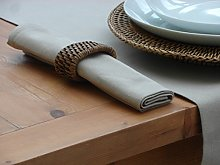 PACK OF 4 TAUPE / BEIGE TABLE NAPKINS