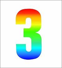 Pack of 4 Trendy Rainbow Wheelie Bin Number-3 Self