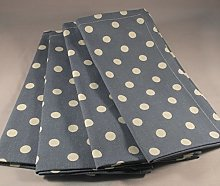 PACK OF 4 VINTAGE BLUE AND CREAM POLKA DOT COTTON