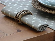 PACK OF 4 VINTAGE TAUPE / BEIGE WITH CREAM POLKA