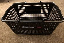 Pack of 5 Black Plastic Shopping Basket with Metal